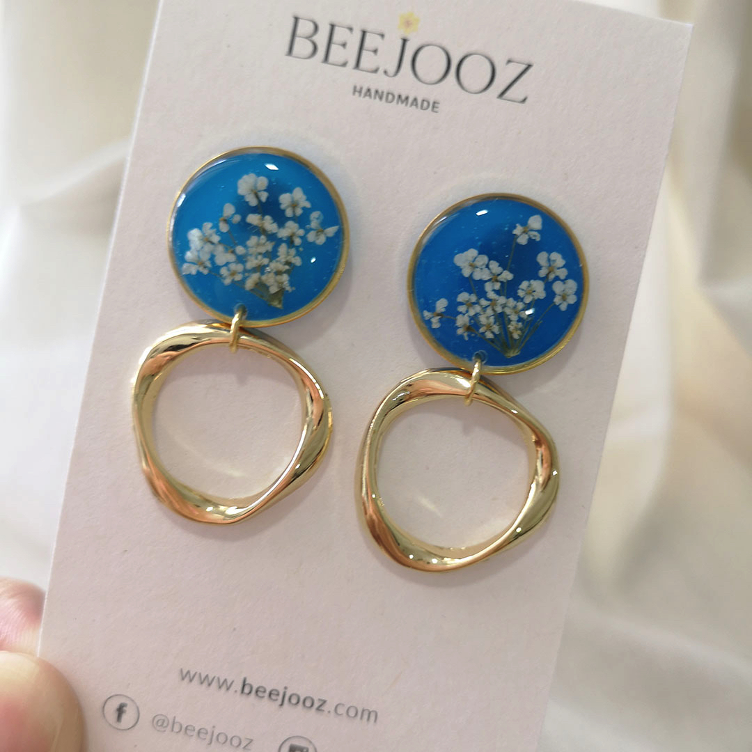 18K Gold Plated Blue Series Lace Flower Stud Drop 2
