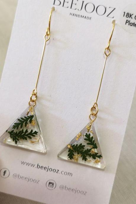 18K Gold Plated Triangle Tree Leaves & Gold Leaf Drop