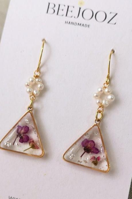 18K Gold Plated Triangle Purple Alyssum Drop with Tiny Pearls Circle