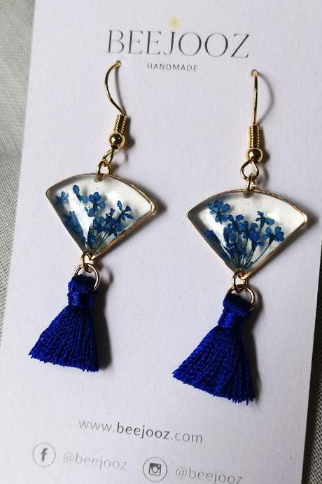 18K Gold Plated Royal Blue Lace Flower Fan Tassel Drop