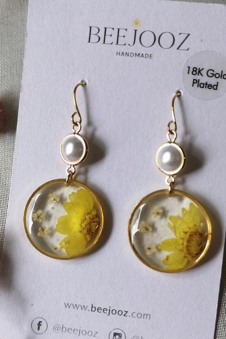 18K Gold Plated Round Yellow Daisy Drop