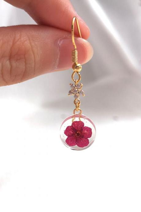 18K Gold Plated Round Petite Cherry Blossom Drop with Shinny Star