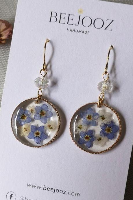 18K Gold Plated Round Myosotis Circle Drop
