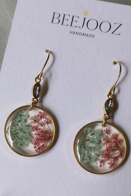 18K Gold Plated Round Baby Pink & Green Lace Flower Drop