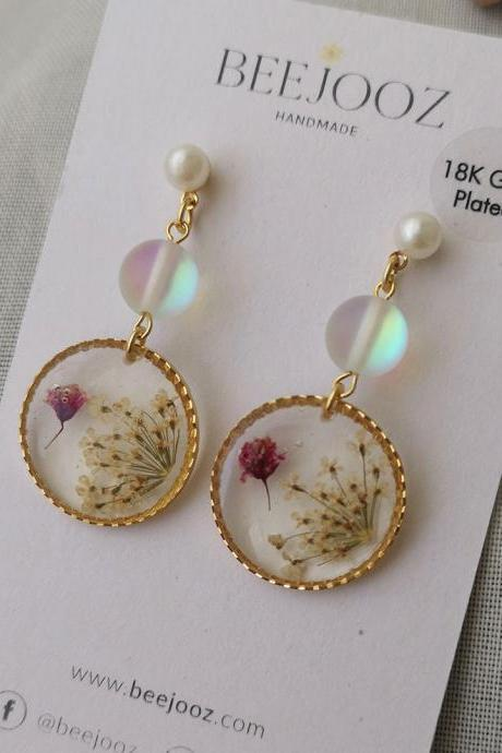 18K Gold Plated Round Baby Breath with Mermaid Stone Stud Drop