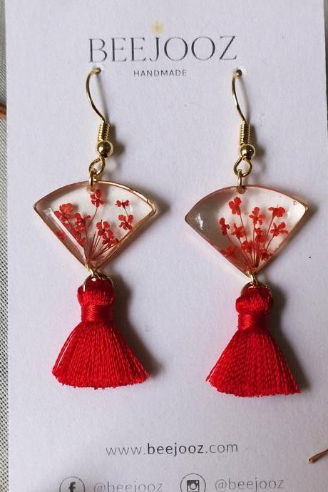 18K Gold Plated Red Lace Flower Fan Tassel Drop