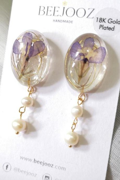 18K Gold Plated Purple Orchid with Pearls Stud Drop