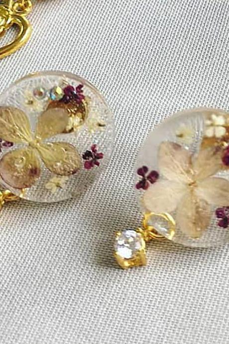 18K Gold Plated Purple Hydrangea Statement Stud Drop