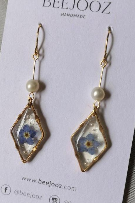 18K Gold Plated Diamond Single Myosotis Drop